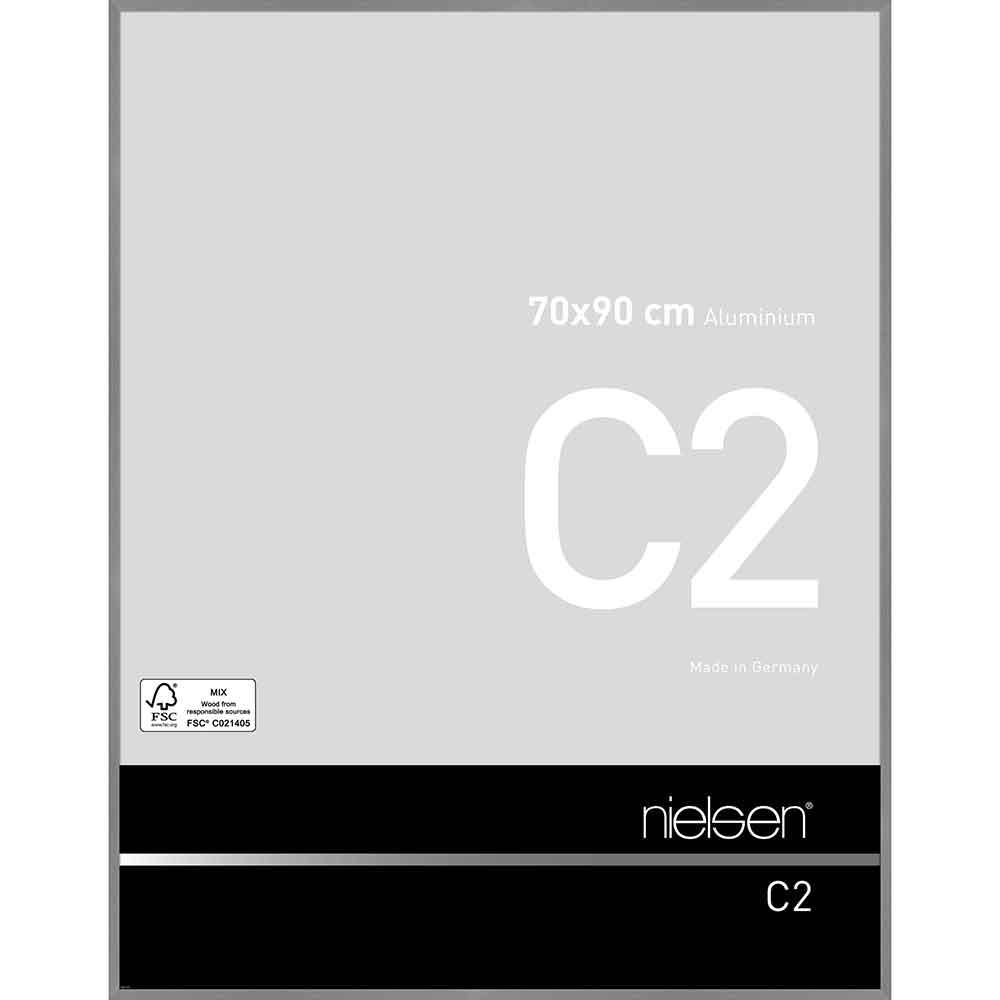 Aluminiumram C2 70x90 cm | struktur grå matt | standardt glas