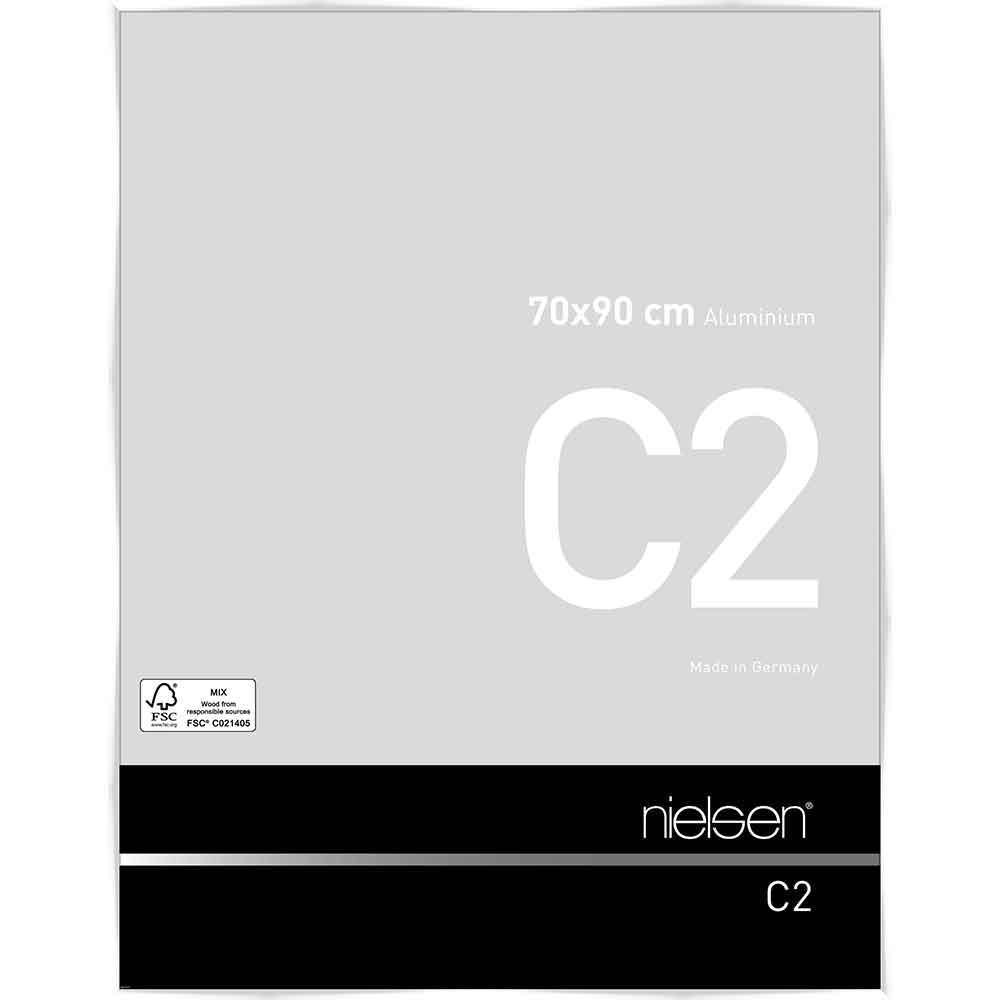 Aluminiumram C2 70x90 cm   vit blank   standardt glas