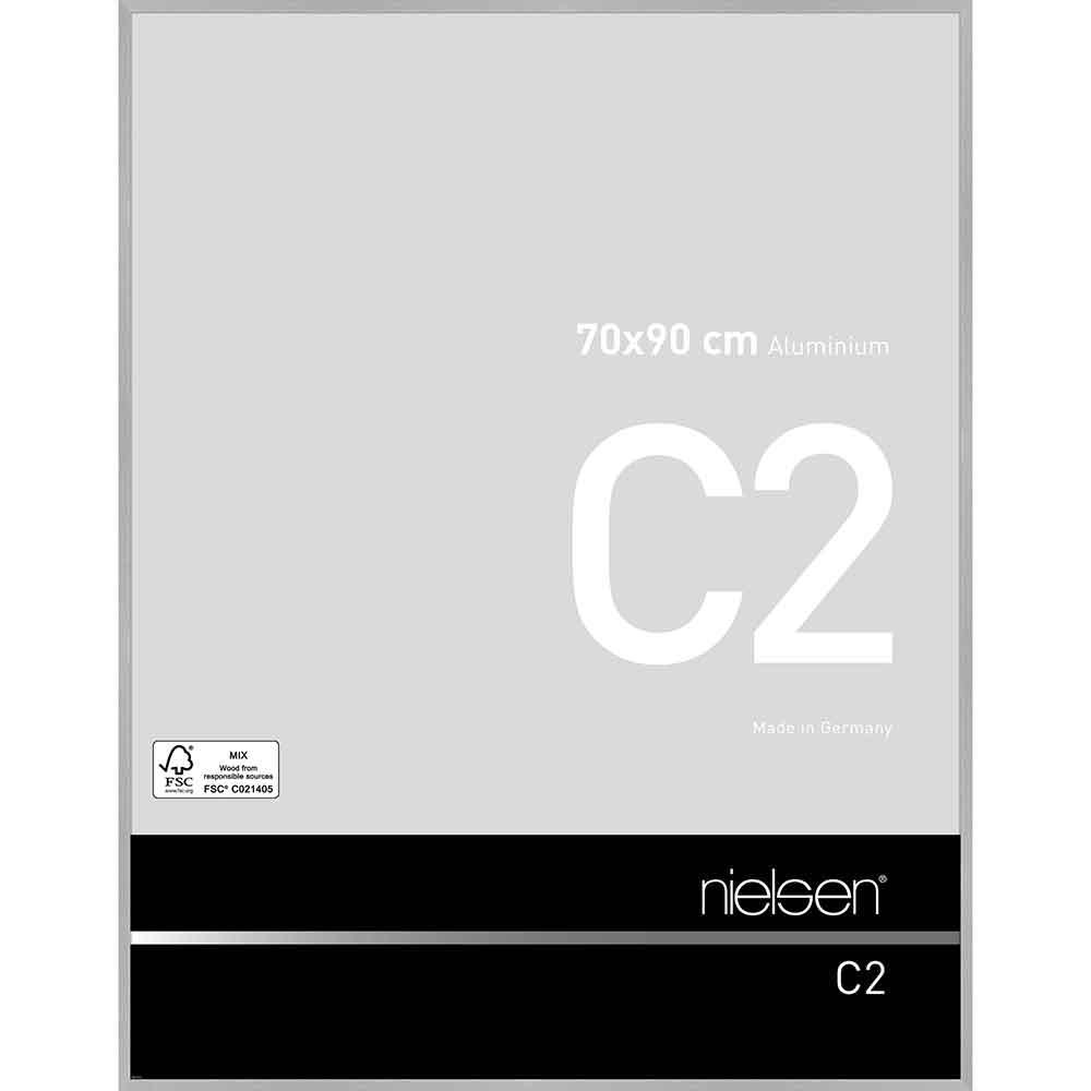 Aluminiumram C2 70x90 cm   silver matt struktur   standardt glas