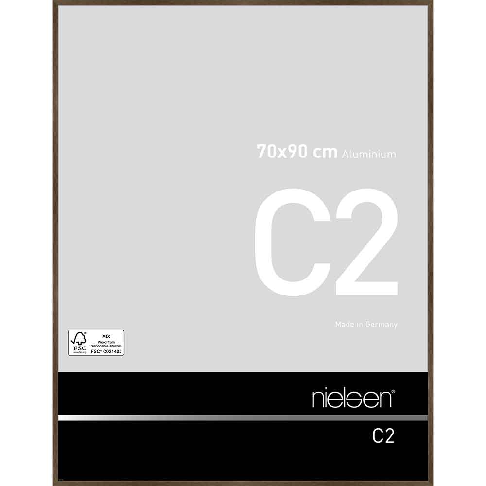 Aluminiumram C2 70x90 cm   valnötsstruktur matt   standardt glas