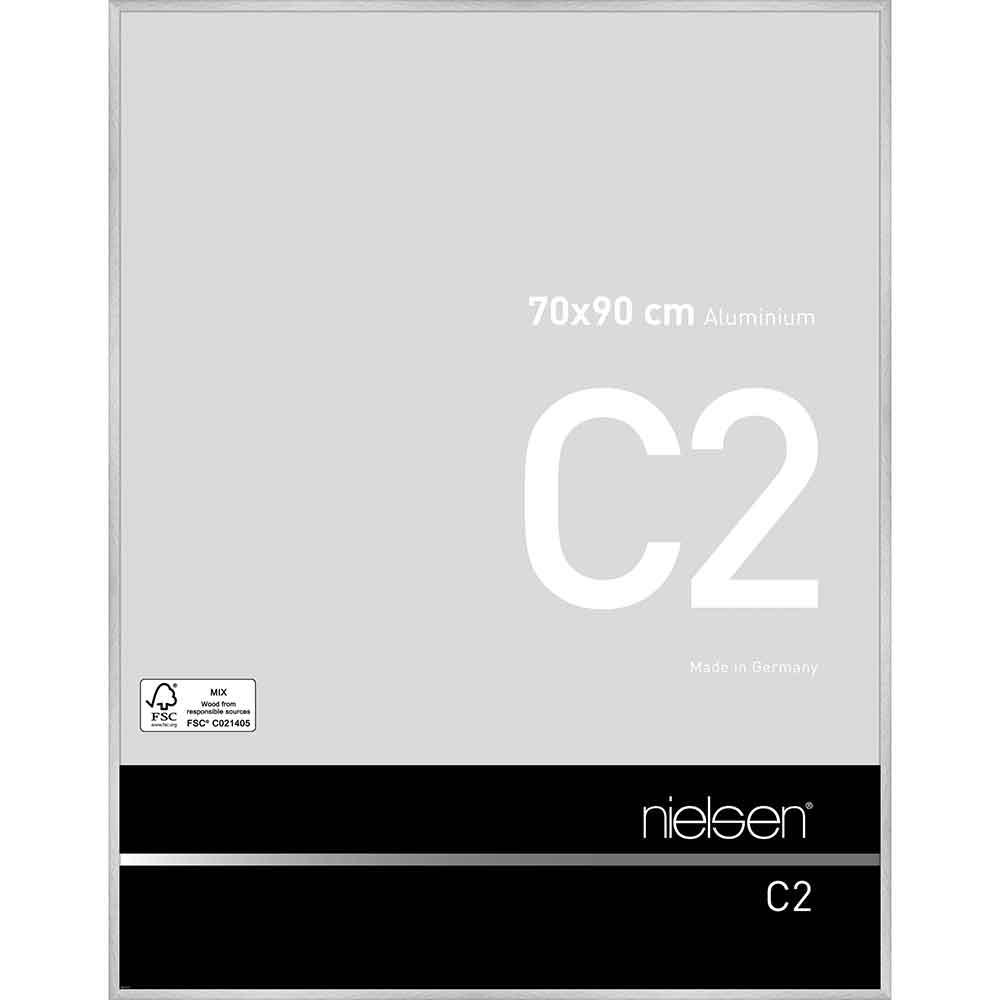 Aluminiumram C2 70x90 cm | Reflex silver | standardt glas