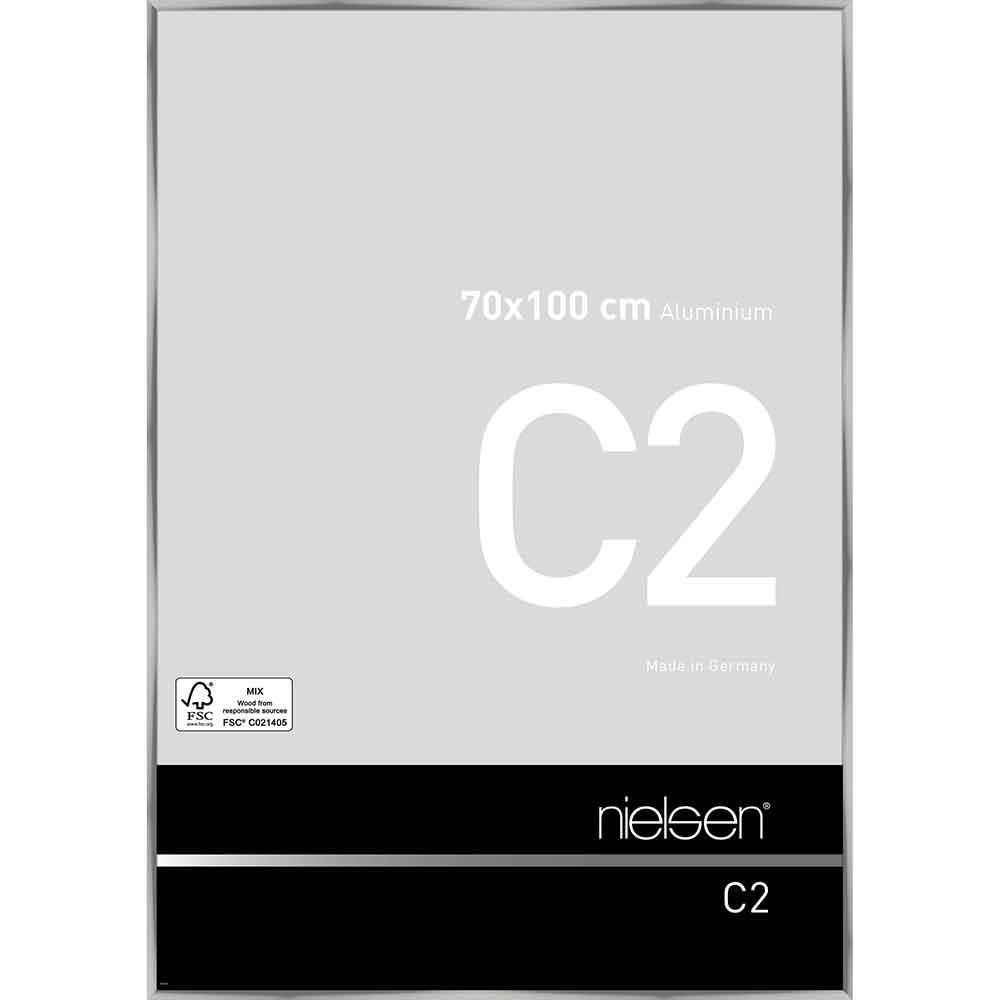 Aluminiumram C2 70x100 cm   silver blank   standardt glas