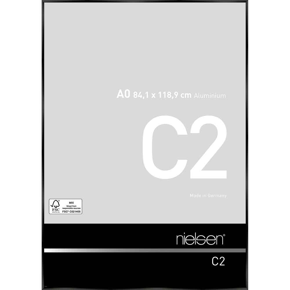 Aluminiumram C2 84,1x118,9 cm (A0)   Eloxal svart blank   standardt glas