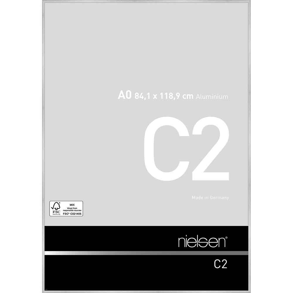 Aluminiumram C2 84,1x118,9 cm (A0) | Reflex silver | standardt glas