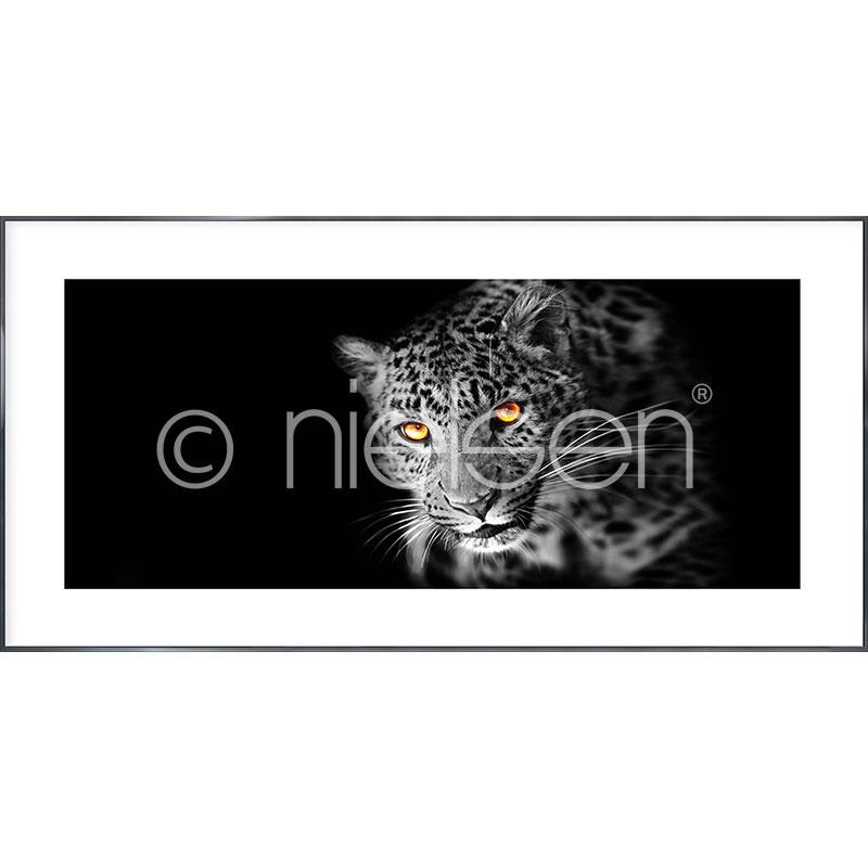 """Inramad bild """"Leopard"""" med aluminiumram Alpha"""