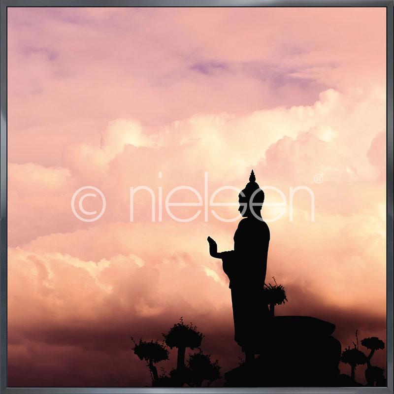 "Inramad bild ""Buddha"" med aluminiumram Alpha"