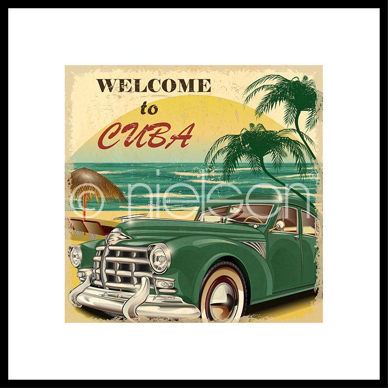 "Inramad bild ""Welcome to Cuba"" med aluminiumram C2"