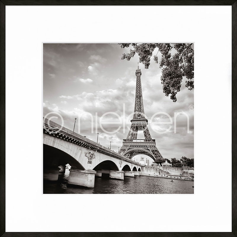 "Inramad bild ""Paris black and white"" med aluminiumram C2 50x50 cm 