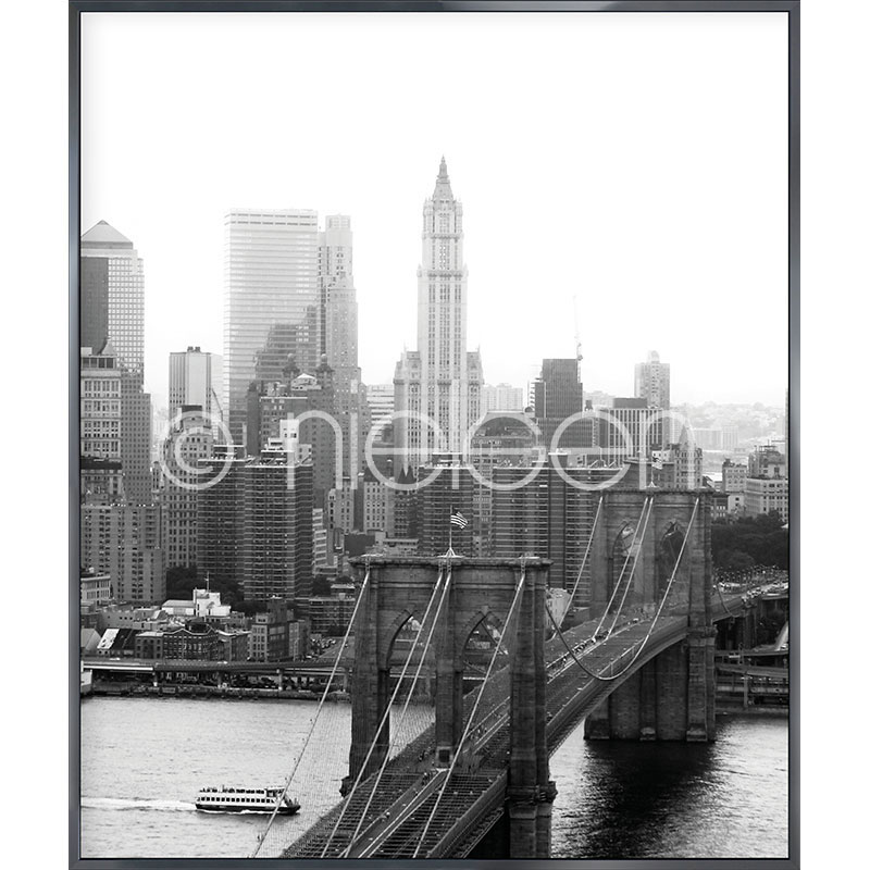 "Inramad bild ""Brooklyn Bridge"" med aluminiumram Alpha"