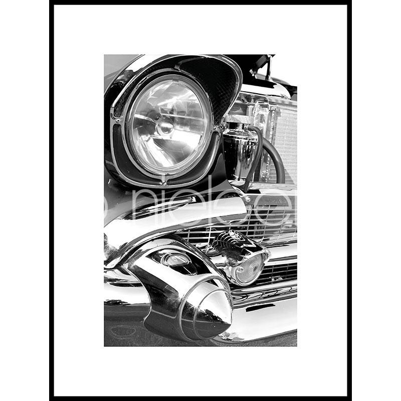 "Inramad bild ""Car Chrome"" med aluminiumram C2"