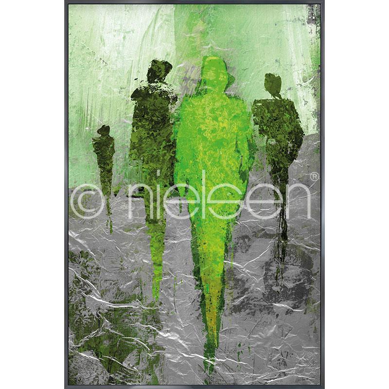 """Inramad bild """"Abstract Figures Green"""" med aluminiumram Alpha"""