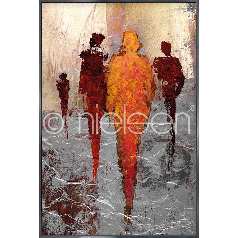 """Inramad bild """"Abstract Figures Red"""" med aluminiumram Alpha"""