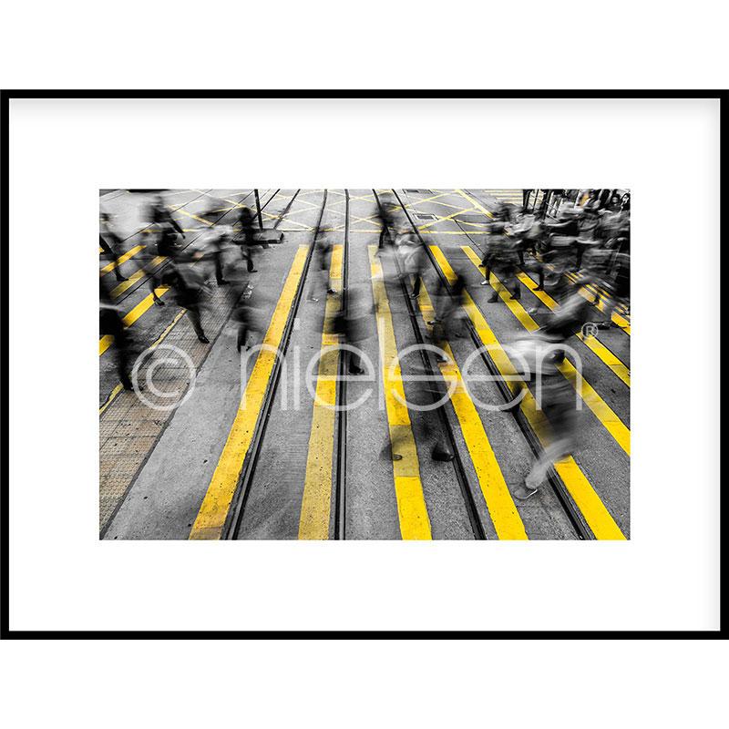 """Inramad bild """"Zebra Crossing"""" med aluminiumram C2"""
