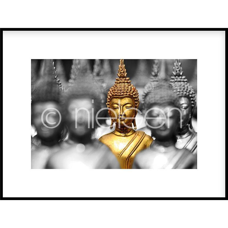 """Inramad bild """"Buddha in gold"""" med aluminiumram C2"""