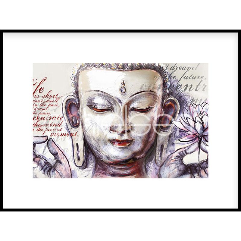 """Inramad bild """"Buddha Pearcing"""" med aluminiumram C2"""