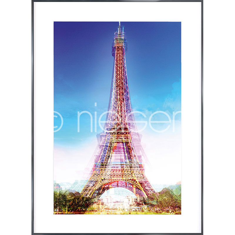 """Inramad bild """"Eiffel Tower"""" med aluminiumram Alpha"""