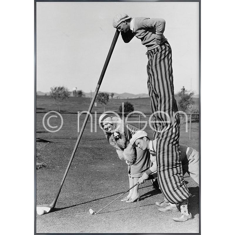 """Inramad bild """"Golfer"""" med aluminiumram Alpha"""