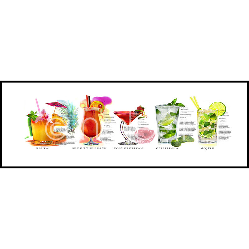 "Inramad bild ""Cocktails"" med aluminiumram C2"