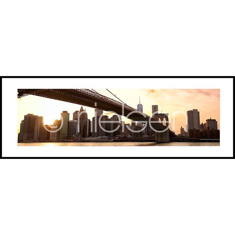 "Inramad bild ""Brooklyn Bridge Sunset"" med aluminiumram C2"