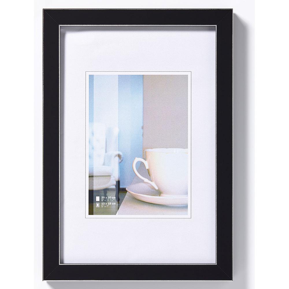 """Plastram """"Ambience"""" 10x15 cm   svart med silverränder   standardt glas"""