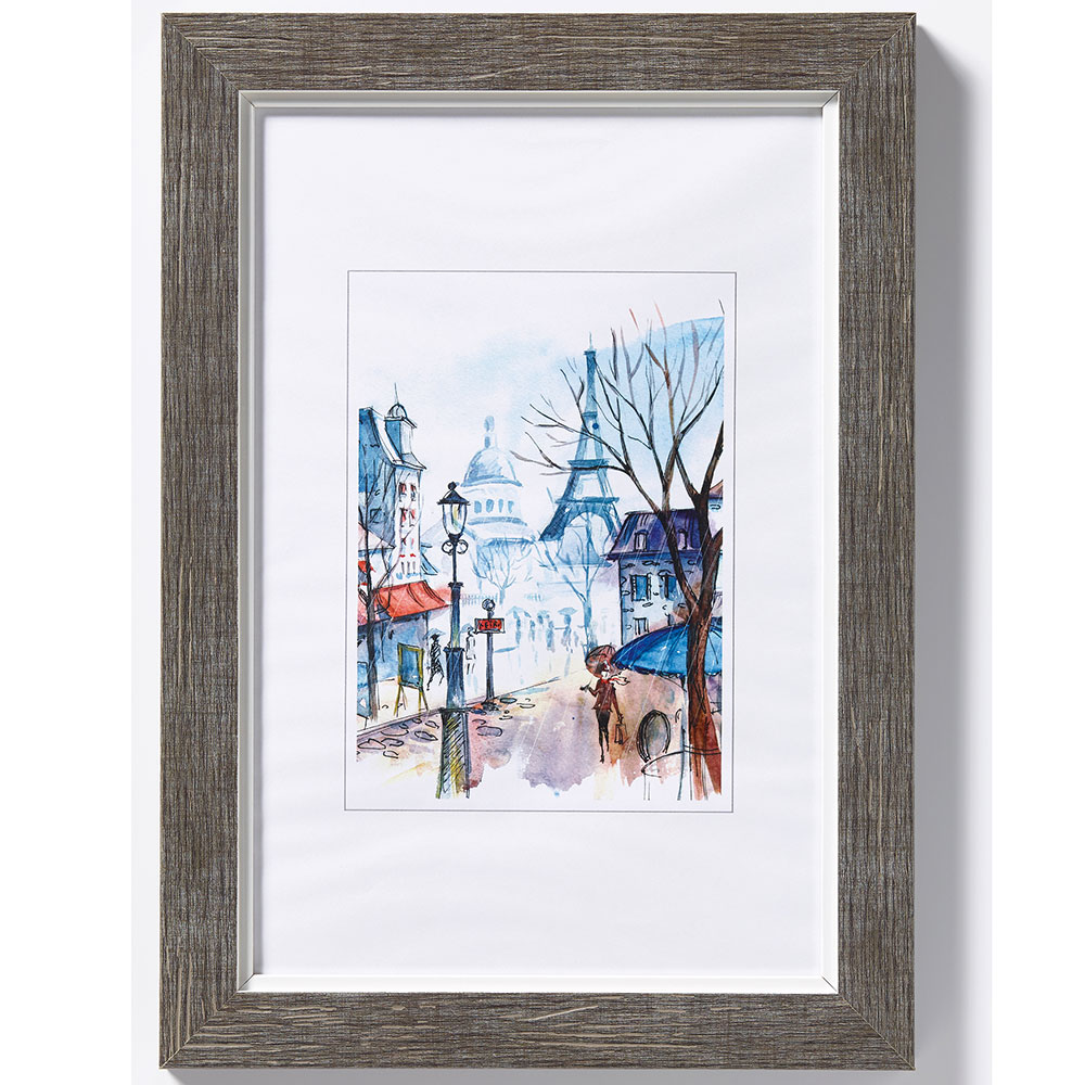 "Fotoram av trä ""Sentiment"" 13x18 cm | grå | standardt glas"